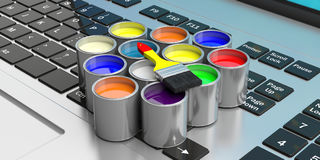 Paint cans and paintbrush on a computer, 3d illustration. Paint cans and paint brush on a computer, 3d illustration Royalty Free Stock Photos