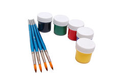 Paint cans with paintbrush Stock Photography