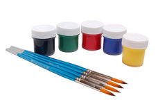 Paint cans with paintbrush Royalty Free Stock Photo