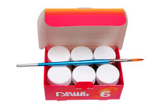 Paint cans with paintbrush Royalty Free Stock Image
