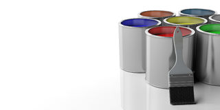 Paint cans and paintbrush on white background, 3d illustration. Paint cans and paint brush on white background, 3d illustration Royalty Free Stock Photography