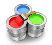 Paint cans with a paintbrush. On a white background, 3d render Royalty Free Stock Photos