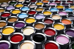 Paint cans palette, Creativity concept. Paint cans color palette and Rainbow colors royalty free stock image