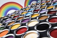 Paint cans palette, Creativity concept. Paint cans color palette and Rainbow colors stock photo