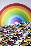 Paint cans palette, Creativity concept. Paint cans color palette and Rainbow colors stock images