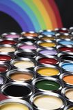 Paint cans palette, Creativity concept. Paint cans color palette and Rainbow colors royalty free stock photos