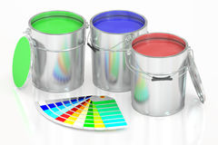 Paint cans and palette, 3D rendering. On white background Royalty Free Stock Photos