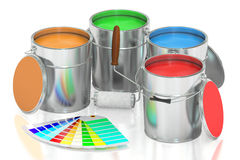 Paint cans, palette and roller brush. 3D rendering Royalty Free Stock Image