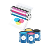 Paint cans and printer  on white Royalty Free Stock Photography