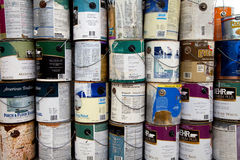 Paint cans recycling Royalty Free Stock Image