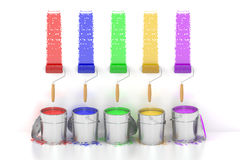 Paint cans and roller brushes. 3D rendering. On white background Stock Image