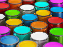 Paint cans stack. Multi colored paint cans full of paints Stock Photos
