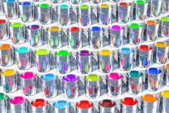 Paint cans on the stand. 3D rendering. Paint cans on the stand. 3D Stock Image