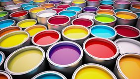 Paint cans. Various color paint cans illustration Royalty Free Stock Image
