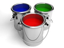 Paint cans on white background. 3d stock illustration
