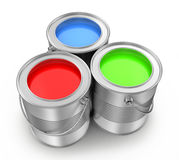 Paint cans. On a white background, 3d render Stock Photography