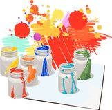 Paint cans. White paint cans with colorful splash Stock Photos