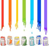 Paint cans. White paint cans with rainbow colors Royalty Free Stock Photos