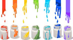 Paint cans. White paint cans with rainbow colors Royalty Free Stock Image