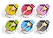 Free Paint Cans With Different Decorator`s Paints With Brush On Top On A White Background. 6 Colors Royalty Free Stock Images - 163895549