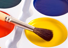 Paint Cans With One Brush On T Stock Images