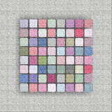 Abstract background, banner. A banner that has a frame of light gray rough material, a texture and in the middle of a square mosaic of squares in gentle pastel Stock Photography