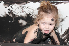 Paint and child in bathtub Royalty Free Stock Images