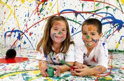 Paint Children Royalty Free Stock Photo