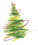 Paint Christmas Tree. Illustration Painted Christmas Tree white background Royalty Free Stock Photo