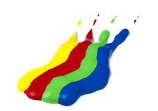 Paint coated on paper. Red, green, blue and yellow colors. Royalty Free Stock Image