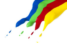 Paint coated on paper. Red, green, blue and yellow colors. Stock Photography