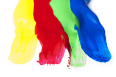 Paint coated on paper. Red, green, blue and yellow colors. Stock Images