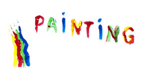 Paint coated on paper. Text painting. Royalty Free Stock Images