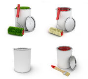 Paint collection brush and tin can 3d render on white background. Paint collection brush and tin can 3d render on white Royalty Free Stock Photo
