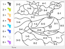 Paint color by addition and subtraction numbers Royalty Free Stock Photos