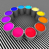 Paint color background. 3d paint color and metal can background Royalty Free Stock Images