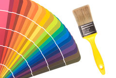 Paint color cards and brush Stock Photography