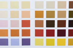 Paint color chart in close up Royalty Free Stock Photography