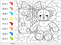 Paint color by numbers - addition and subtraction worksheet for education Royalty Free Stock Image