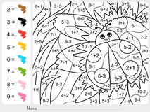 Paint color by numbers - addition and subtraction worksheet for education Royalty Free Stock Photos