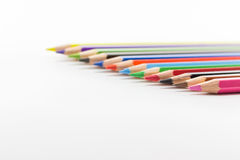 Paint Color Pencils  on white Background. Visual color crayons can be used as background Royalty Free Stock Photo