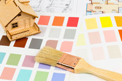 Paint color sample catalog with brush, drawing Stock Photography