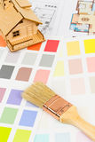Paint color sample catalog with brush, drawing Royalty Free Stock Photography