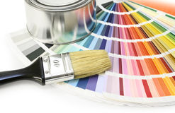 Paint color swatches. Paint color chart sample swatches, paint brush and can Royalty Free Stock Image