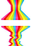 Paint colored wall stripes. Vector illustration of rainbow colored wall stripes flowing disjointed forming a central frame for custom text. Funky design Royalty Free Stock Image