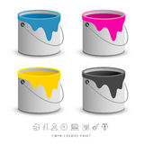 Paint colorful cans with business icons concept Royalty Free Stock Image