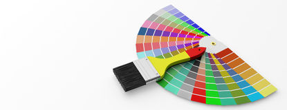 Colors catalogue and paint brush on white background. 3d illustration. Paint colors catalogue and brush on white background. 3d illustration Royalty Free Stock Photography
