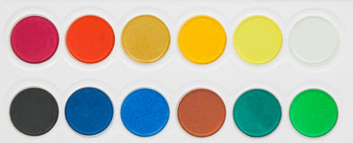 Paint colors pallete Royalty Free Stock Photos
