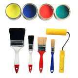 Paint colors and tools. Four color cans and four paint brushes and paint roll totaly isolated on white background hardware tools stock images