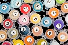 Paint containers for painting by numbers. Pattern of paint containers for painting by numbers Stock Image